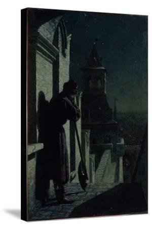 Strelets on the Moscow Kremlin Tower at Moonlit Night, 1890s-Nikolai Sergeyevich Matveyev-Stretched Canvas Print