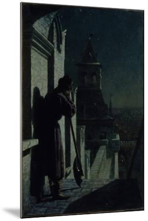 Strelets on the Moscow Kremlin Tower at Moonlit Night, 1890s-Nikolai Sergeyevich Matveyev-Mounted Giclee Print