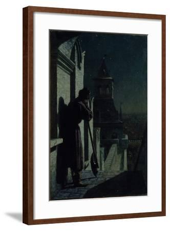 Strelets on the Moscow Kremlin Tower at Moonlit Night, 1890s-Nikolai Sergeyevich Matveyev-Framed Giclee Print