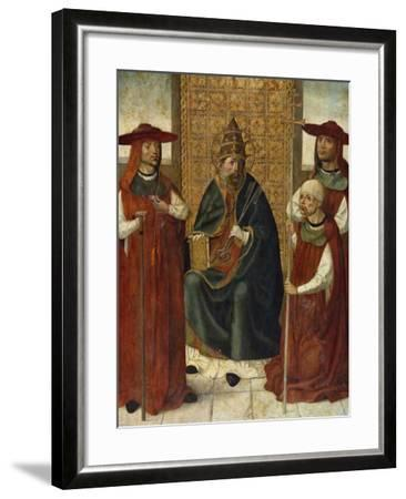 Cardinal Pedro González De Mendoza (1428-149) Praying before Saint Peter, 1490-1495--Framed Giclee Print