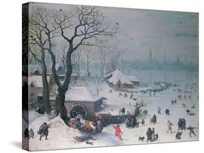 Winter Landscape with Snowfall Near Antwerp-Lucas van Valckenborch-Stretched Canvas Print