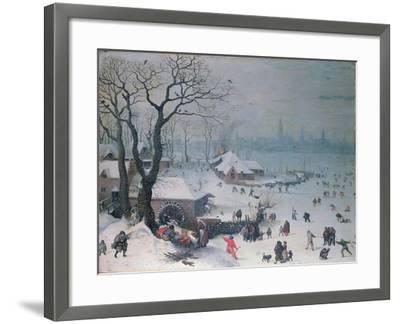 Winter Landscape with Snowfall Near Antwerp-Lucas van Valckenborch-Framed Giclee Print