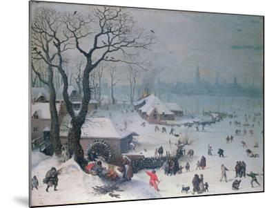 Winter Landscape with Snowfall Near Antwerp-Lucas van Valckenborch-Mounted Giclee Print
