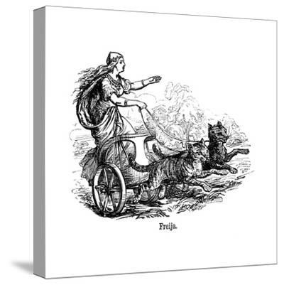 Freya (Frig) Goddess of Love in Scandinavian Mythology, Driving Her Chariot Pulled by Cats--Stretched Canvas Print