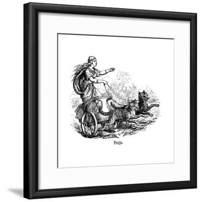 Freya (Frig) Goddess of Love in Scandinavian Mythology, Driving Her Chariot Pulled by Cats--Framed Giclee Print