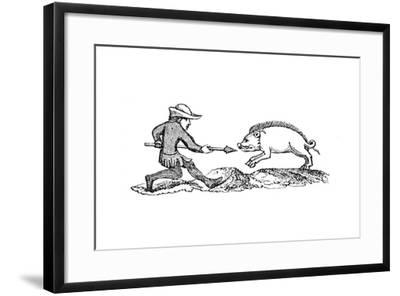 Spearing a Boar, 14th Century--Framed Giclee Print