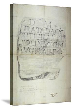 Roman Memorial Stone Erected by Solinus in Memory of His Wife Grata, 1875--Stretched Canvas Print