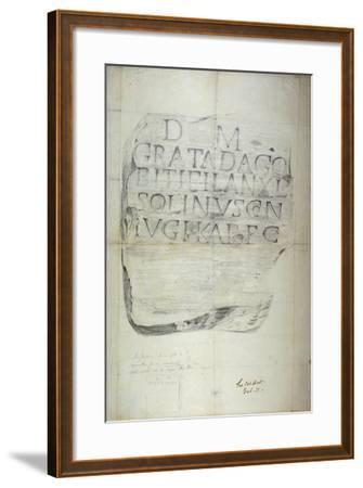 Roman Memorial Stone Erected by Solinus in Memory of His Wife Grata, 1875--Framed Giclee Print