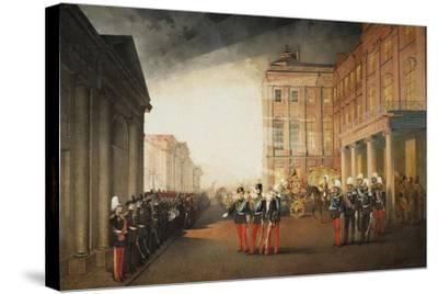 Parade in Front of the Anichkov Palace on 26 February 1870, 1870-Mihály Zichy-Stretched Canvas Print