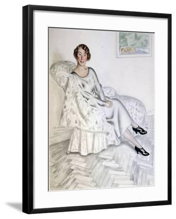 Lady in Interior, 1925-Boris Michaylovich Kustodiev-Framed Giclee Print