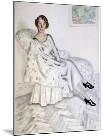 Lady in Interior, 1925-Boris Michaylovich Kustodiev-Mounted Giclee Print