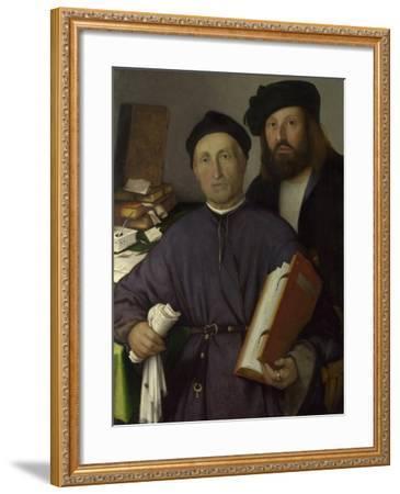 The Physician Giovanni Agostino Della Torre and His Son, Niccolò, Ca 1515-Lorenzo Lotto-Framed Giclee Print