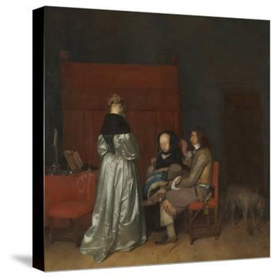 Three Figures Conversing in an Interior (The Paternal Admonitio), Ca 1654-Gerard Ter Borch the Younger-Stretched Canvas Print