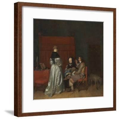 Three Figures Conversing in an Interior (The Paternal Admonitio), Ca 1654-Gerard Ter Borch the Younger-Framed Giclee Print