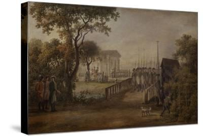 Changing of the Guard at the Tsarina?S Meadow in Saint Petersburg, 1799-Mikhail Matveevich Ivanov-Stretched Canvas Print