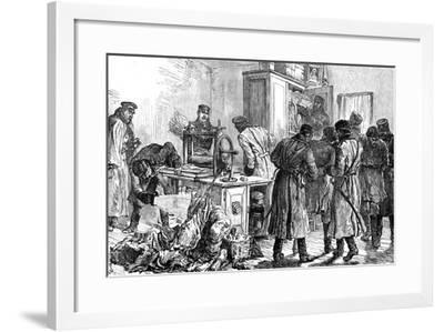 Police Discovering a Nihilist Printing Press, St Petersburg, Russia, 1887--Framed Giclee Print