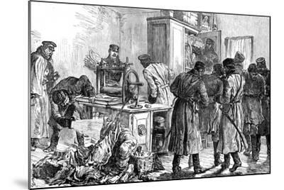 Police Discovering a Nihilist Printing Press, St Petersburg, Russia, 1887--Mounted Giclee Print