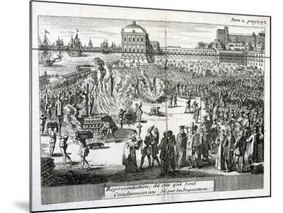 Burning of Heretics Sentenced by the Inquisition, 1759--Mounted Giclee Print