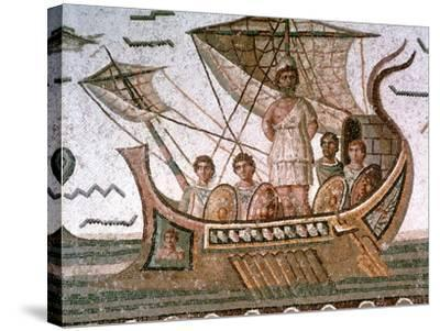 Ulysses and the Sirens, Roman Mosaic, 3rd Century Ad--Stretched Canvas Print