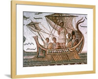 Ulysses and the Sirens, Roman Mosaic, 3rd Century Ad--Framed Giclee Print