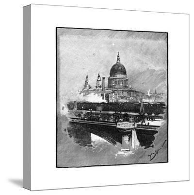 Blackfriars Bridge and St Paul's Cathedral, London--Stretched Canvas Print