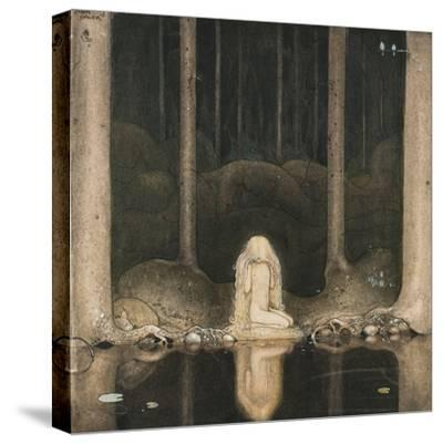 Princess Tuvstarr Is Still Sitting There Wistfully Looking into the Water, 1913-John Bauer-Stretched Canvas Print