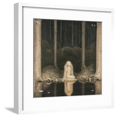 Princess Tuvstarr Is Still Sitting There Wistfully Looking into the Water, 1913-John Bauer-Framed Giclee Print