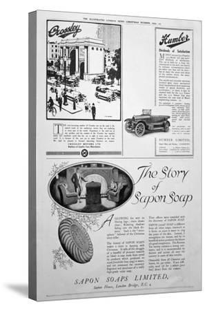 An Advertising Page in the Illustrated London News, Christmas Number, 1920--Stretched Canvas Print