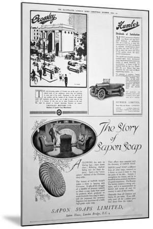 An Advertising Page in the Illustrated London News, Christmas Number, 1920--Mounted Giclee Print