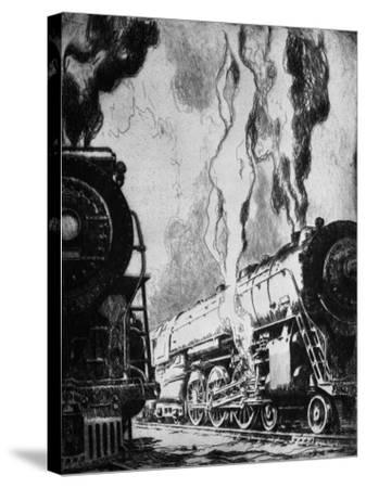 Running the Trains-Otto Kuhler-Stretched Canvas Print