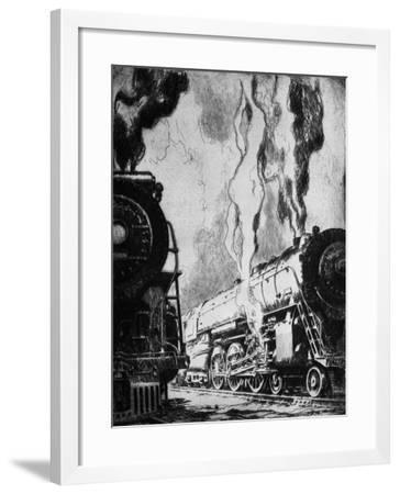 Running the Trains-Otto Kuhler-Framed Giclee Print