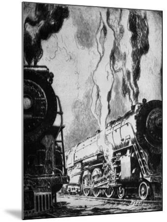 Running the Trains-Otto Kuhler-Mounted Giclee Print