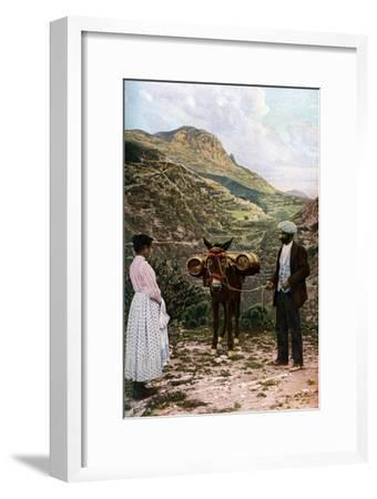 Mule with Water Kegs, Sicily, Italy, C1923-AW Cutler-Framed Giclee Print