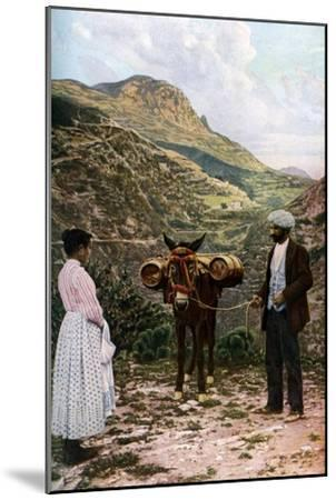 Mule with Water Kegs, Sicily, Italy, C1923-AW Cutler-Mounted Giclee Print