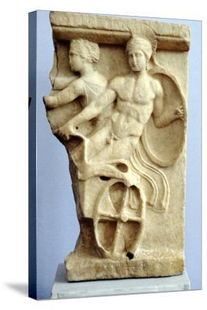 Stone Sculpture of Greek Warriors in a Chariot, C500 Bc--Stretched Canvas Print