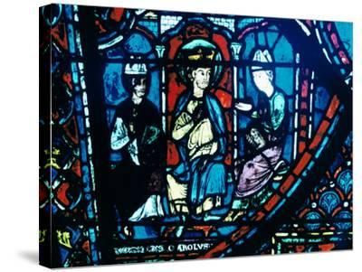 Constantine's Letter Presented to Charlemagne, Stained Glass, Chartres Cathedral, France, C1225--Stretched Canvas Print