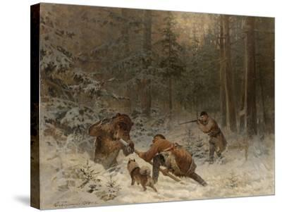 Bear Hunt-Evgeny Alexandrovich Tichmenev-Stretched Canvas Print