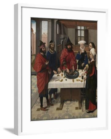 The Last Supper Altarpiece: Passover Seder (Left Wing), 1464-1468-Dirk Bouts-Framed Giclee Print