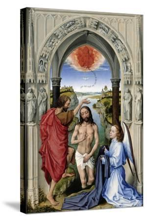 The Baptism of Christ (The Altar of St. John, Middle Pane), Ca 1455-Rogier van der Weyden-Stretched Canvas Print