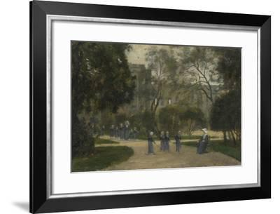 Nuns and Schoolgirls in the Tuileries Gardens, Paris, 1870S-1880S-Stanislas Lepine-Framed Giclee Print