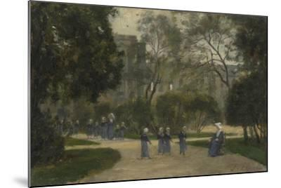 Nuns and Schoolgirls in the Tuileries Gardens, Paris, 1870S-1880S-Stanislas Lepine-Mounted Giclee Print