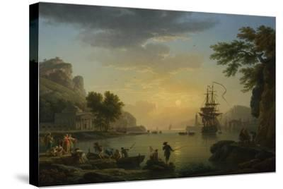 A Landscape at Sunset with Fishermen Returning with their Catch, 1773-Claude Joseph Vernet-Stretched Canvas Print