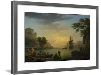 A Landscape at Sunset with Fishermen Returning with their Catch, 1773-Claude Joseph Vernet-Framed Giclee Print