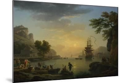 A Landscape at Sunset with Fishermen Returning with their Catch, 1773-Claude Joseph Vernet-Mounted Giclee Print