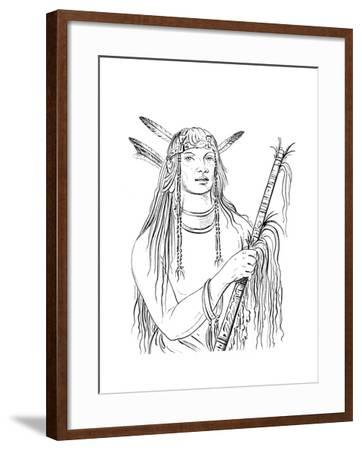 Portrait of Mouse Coloured Feather, Native American Man, 1841-Myers and Co-Framed Giclee Print
