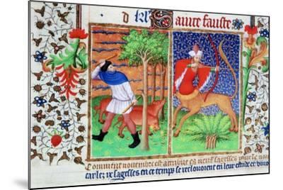 November: Feeding Pigs, and Sagittarius, C1423--Mounted Giclee Print