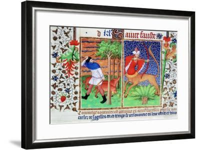 November: Feeding Pigs, and Sagittarius, C1423--Framed Giclee Print