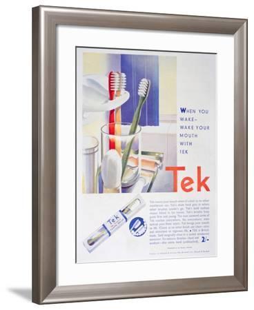 Advert for Tek Toothbrushes, by Johnson and Johnson, 1931--Framed Giclee Print
