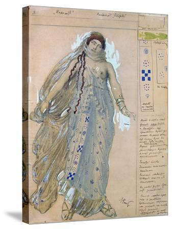 Phaedra. Costume Design for the Drama Hippolytus by Euripides, 1902-L?on Bakst-Stretched Canvas Print