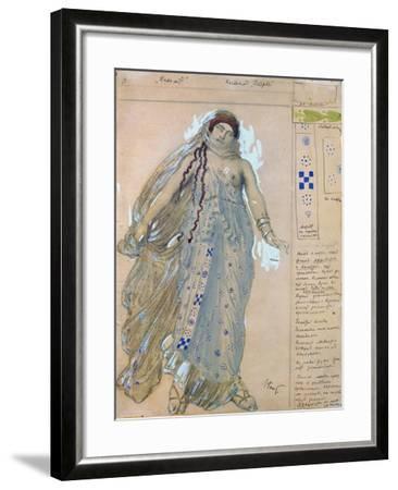 Phaedra. Costume Design for the Drama Hippolytus by Euripides, 1902-L?on Bakst-Framed Giclee Print